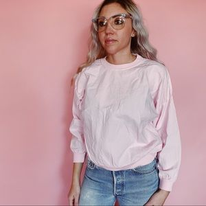 90s Vintage Light Pink Crew Neck Long Sleeved Top